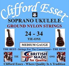 CLIFFORD ESSEX SOPRANO UKULELE STRINGS. MEDIUM. C OR D TUNING. MADE IN BRITAIN.