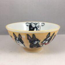 "Japanese Children Rice Soup Bowl 4.5""D Ceramic Yellow Boston Terriers Japan Made"