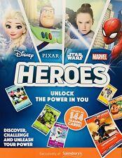 Sainsbury's Heroes Album  (Marvel, Disney, Star Wars) - New + 4 Different Cards