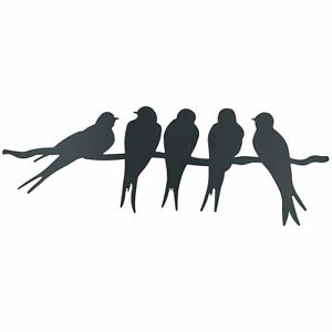 Birds on Wire / Branch Wall Art Metal Silhouette Garden Home Fence Decoration