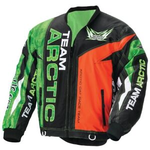 Arctic Cat Men's Sno Cross On-Track Race Jacket No Collar Green Orange 5261-12_