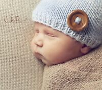 Hand Made Knitted Crochet Baby Hat Blue Boy Button Beanie Photo Prop Newborn-12m