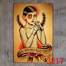 Metal Tin Sign all pain no gain tattoo Decor Bar Pub Home Vintage Retro