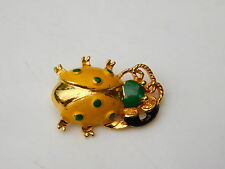 Vintage Scarab Beetle Bug Insect on Telephone Yellow Enamel Brooch Pin 5h 15