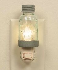 Vintage Rustic Grey Style Miniature Mason Jar Night Light with Candle-Lite Lamp