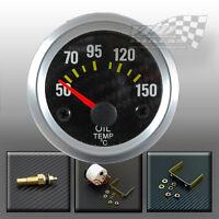 """Car Oil temperature temp gauge dash pod mount carbon effect silver 52mm 2"""""""