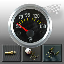OIL TEMPERATURE TEMP GAUGE CARBON FACE SILVER RIM  52mm 2""