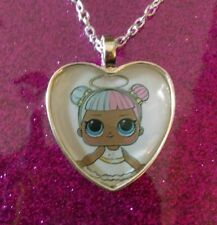 Silver Plated Heart Pendant Necklace LOL Doll Surprise Sugar