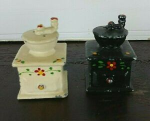 Vintage cast metal potbelly stove salt and pepper shakers