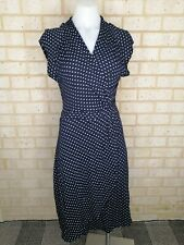 FRENCH CONNECTION size 10 navy blue polka dot wiggle dress rockabilly pin up