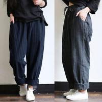 Mode Femme Simple Ample Taille elastique Bande Simple Casual Pantalon Sarouel