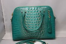 Brahmin Sydney Melbourne Turquoise Embossed Leather Satchel Gift Receipt