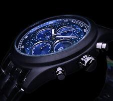 Benyar Herren Armband Uhr Schwarz Blau Edelstahl Chronograph Tag Datum Sterne