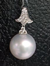 Huge 15mm Natural White South Sea Pearl Diamond Pendant, 18k Solid Gold. $4700.