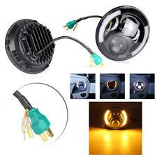 "Pair 7"" Inch LED Headlight Angel Eye Halo DRL for Jeep Wrangler JK TJ 1997-2017"