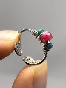 Fine Silver Handcrafted Ear Cuffs Genuine Ruby + Emerald E11
