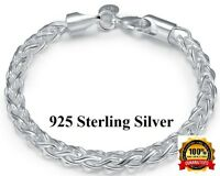 925 Sterling Silver Bracelet Twisted Rope Womens Ladies 6mm Gift Pkg D135