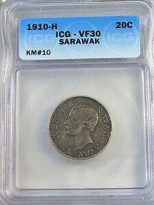 RARE 1910-H 20¢ Cent SARAWAK ICG VF30 KM#10.  #27