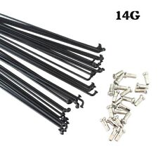 36PCS 14G 2mm Bicycles Spokes W/ Nipples Black J-bend Rustproof Spoke Bike Parts