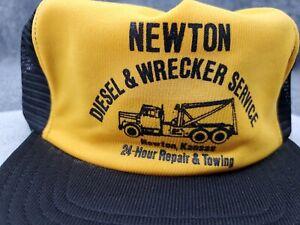 Vintage Newton Diesel & Wrecker Service Hat Made in USA Tow Truck Graphic Cap