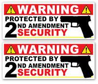 2 Pack - WARNING STICKERS Decal 2nd Amendment Gun Security No Trespassing