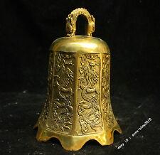 China Tibet Buddhism Temp Brass Bronze Scripture Dragon Bell pendulum sculpture