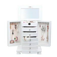 White Large Wooden Jewellery Boxes 7 Layers Rings Cabinet Necklaces Storage Case