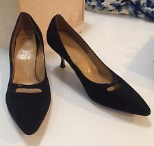 """Vintage 1950s 3"""" Heel Black Suede Pumps Shoes sz 10 Socialites"""