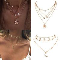 Fashion Boho Multilayer Gold Chain Choker Necklace Women Star Pendant Jewelry