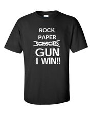 Rock Paper Scissors GUN I Win Funny College 2nd. Amendment Men's Tee Shirt