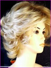Señoras Corto Peluca Peluca De Moda Estilo Bob Rizado tenue luz Rubia Peluca Completa de Reino Unido
