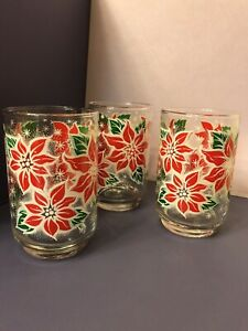Vintage Libbey Christmas poinsettia glasses set of 3