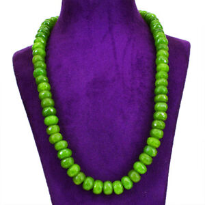 513.00 Cts Earth Mined Green Garnet Round Shape Faceted Beads Necklace (DG)