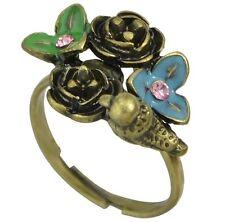 Littlebella Jewellery Bronze Gold Flower Floral Bird Ring Resize Boho Bohemian