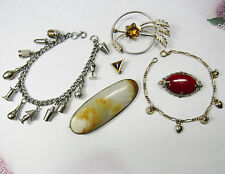 6 Piece Lot Vintage Charm Bracelets and Pin Brooches Includes Sterling Silver