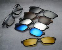 5x Magnete polarizzati clip-on occhiali da sole + 1x occhiali montature Telaio