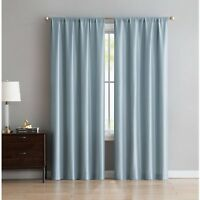 Window Curtains Mainstays Faux Silk Rod Pocket Top Set of 2