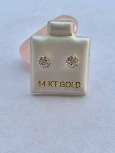 Real 14k White CZ Stud Earrings 5mm Woman Girl - Screw Back - Aretes De Oro