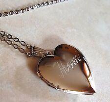 """Mom I Love You Heart Locket Pendant Rhodium Plated Necklace with 18"""" Chain"""