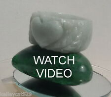 1 Burmese Jadeite A Jade Green Hand Carved Heart Ring USA 13.5sz avail. Natural