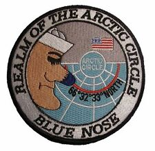 """US Navy Blue Nose Iron On Patch Realm of the Arctic Circle 4 1/2"""" 8656 Shellback"""