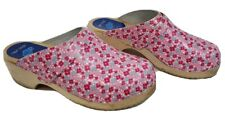 Cape Clogs Striped Mules Women's Size 37 Pink Slip On Swedish Wooden Sole Shoes