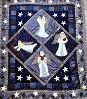 Patchwork & Appliqué Quilt Top, Angels Christmas Scene Large 57 X 47 Blue, Red!