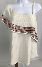 Lucky Brand Womens Embroidered Off the Shoulder One Strap Knit Top Cream Medium
