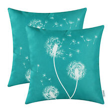 2pcs Cushion Covers Throw Pillows Case Teal Dandelion Print Sofa Decor 45 X 45cm