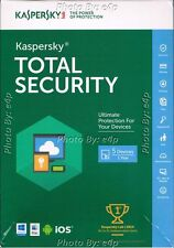 KASPERSKY TOTAL SECURITY MULTI-DEVICE 2016 5 DEVICES WINDOWS MAC ANDROID IOS NEW