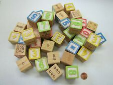"""39 WOOD BLOCK NUMBERS MATH Educational Dots Play or Craft 1.25"""" WOODEN BLOCKS"""