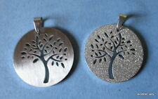 ROUND 35mm Stainless Steel Pendant double-sided Stylized TREE design