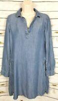 Cloth & Stone Chambray Denim Shirt Dress Blue Small Tencel Popover