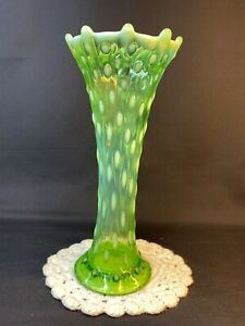 """Northwood Tree Trunk Lime Green 9 1/2"""" Vase Not Banded With Northwood Mark"""